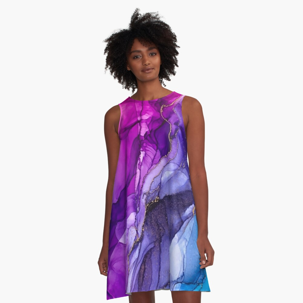 Abstract Vibrant Rainbow Ombre A-Line Dress