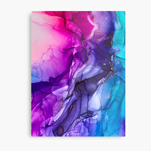 Abstract Vibrant Rainbow Ombre Metal Print