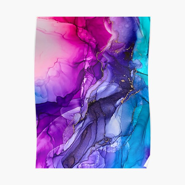 Abstract Vibrant Rainbow Ombre Poster