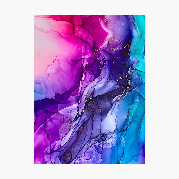Abstract Vibrant Rainbow Ombre Photographic Print
