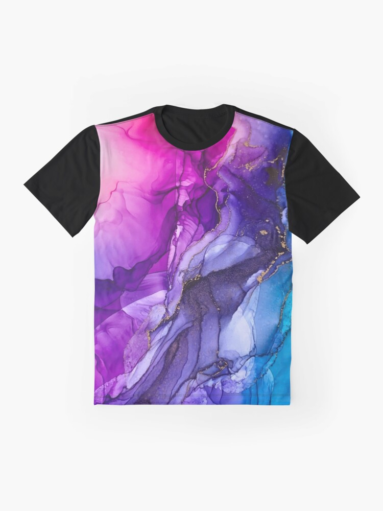 Alternate view of Abstract Vibrant Rainbow Ombre Graphic T-Shirt