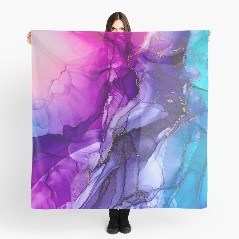 Abstract Vibrant Rainbow Ombre Scarf