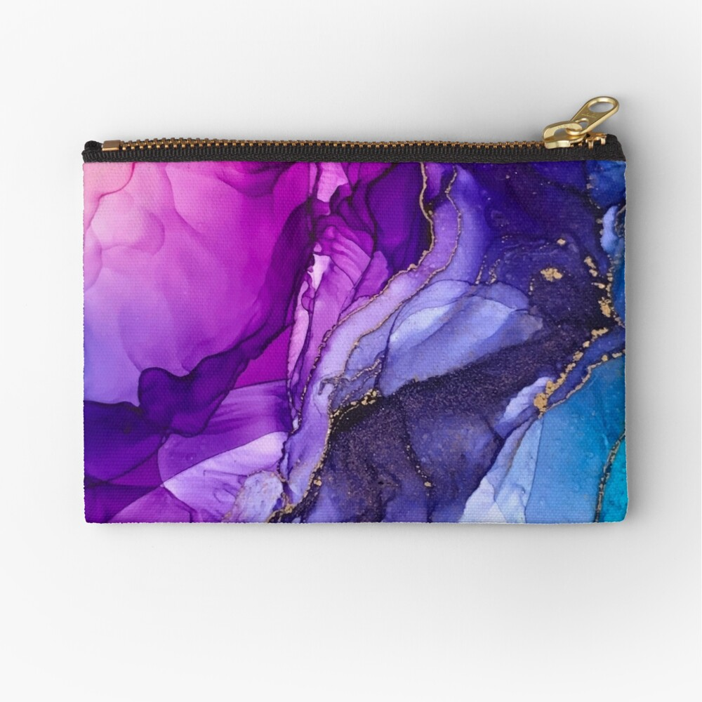 Abstract Vibrant Rainbow Ombre Zipper Pouch