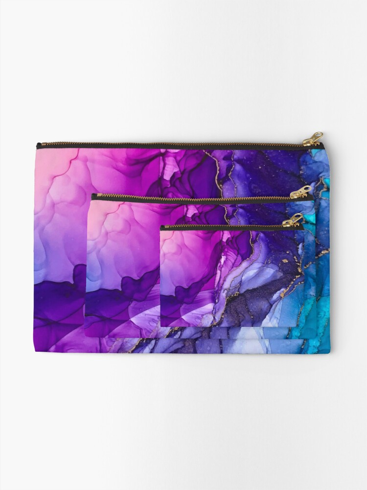 Alternate view of Abstract Vibrant Rainbow Ombre Zipper Pouch