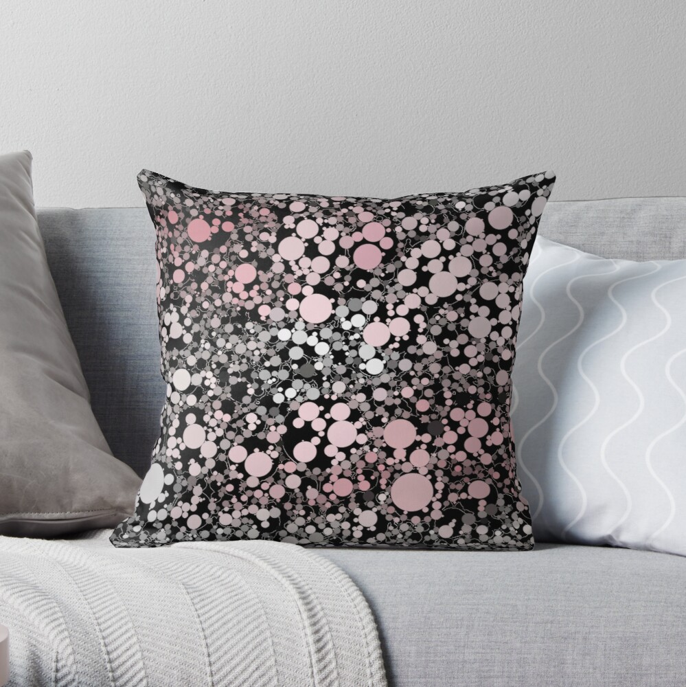 Pink, Black, and Gray Tapestry of Bubbles  Throw Pillow