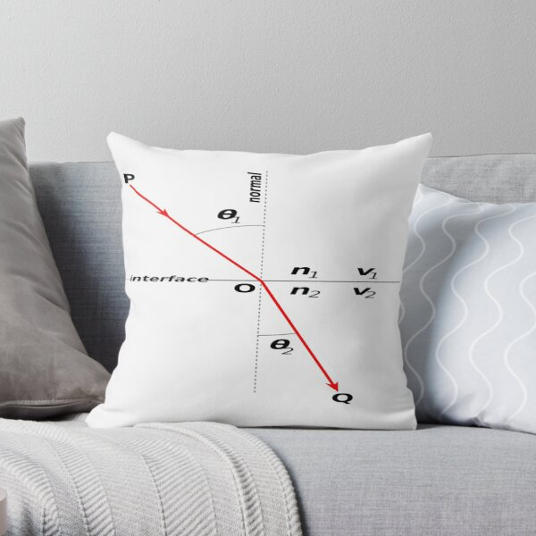 Mathematics, Law of #Refraction, Snell's Law, #Snells #Law #SnellsLaw, Physics, Optics Throw Pillow