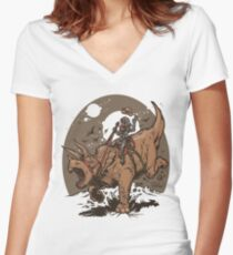 Triceratops CowBot Women's Fitted V-Neck T-Shirt