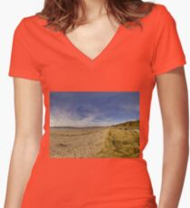 Lisfannon Beach, Fahan, County Donegal, Equirectangular  Women's Fitted V-Neck T-Shirt