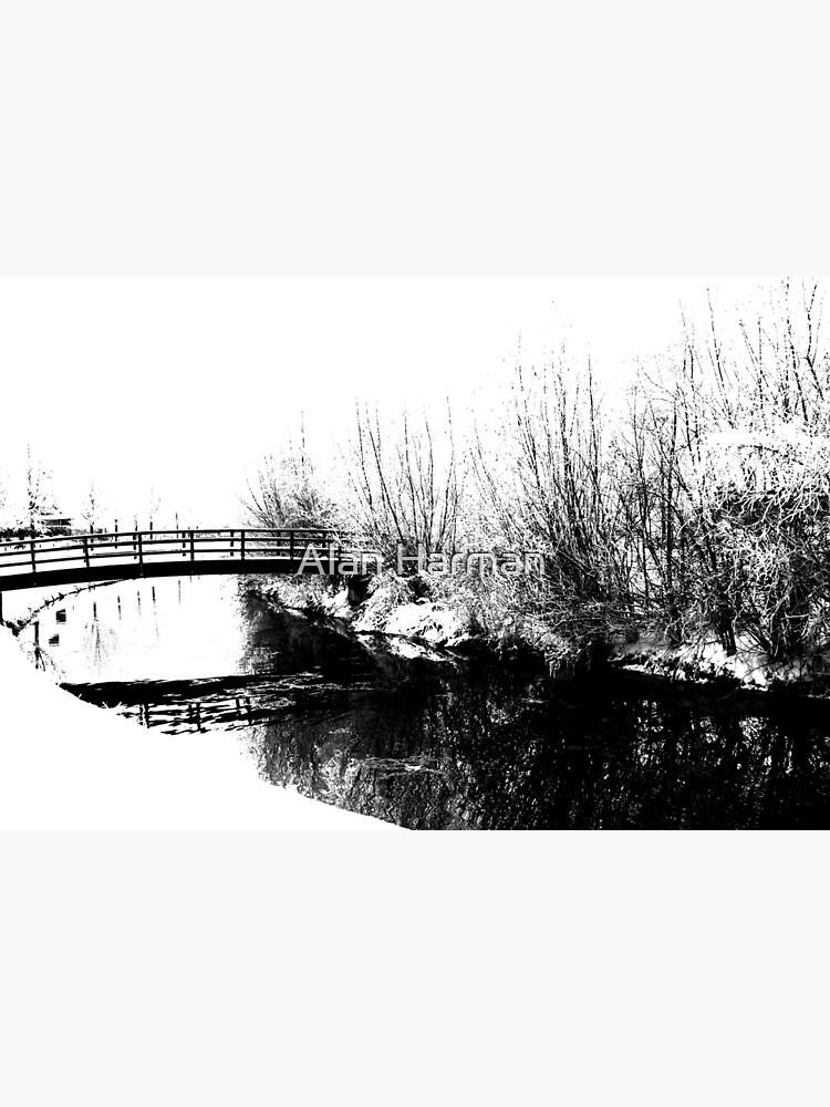 Bridge and Stream Winter Scene by AlanHarman