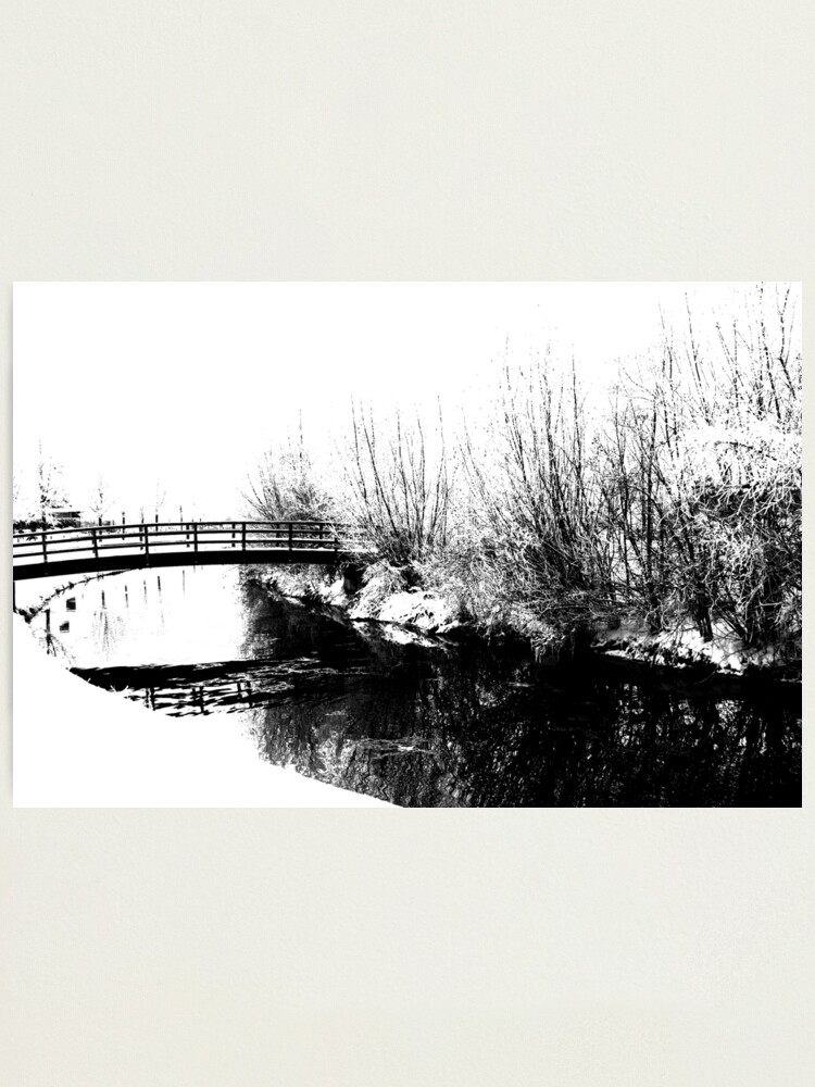 Alternate view of Bridge and Stream Winter Scene Photographic Print