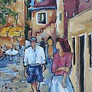 Street scene in Rovinj, Croatia. Acrylic on canvas by Marie Theron