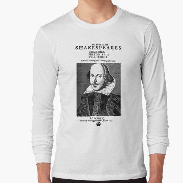 Shakespeare First Folio Frontpiece - Simple Black Version Long Sleeve T-Shirt