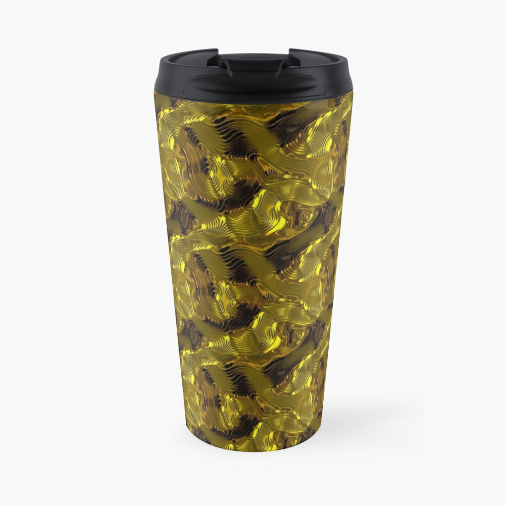 Decorative design ,pattern, textile,cover.Gold. Travel Mug