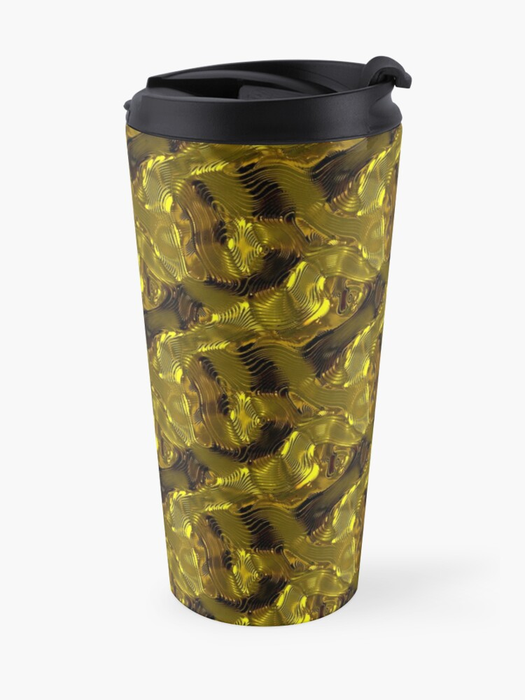Alternate view of Decorative design ,pattern, textile,cover.Gold. Travel Mug