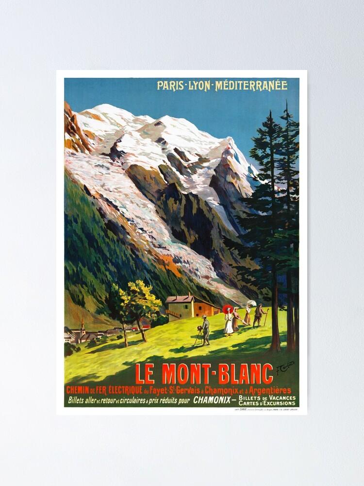 Alternate view of Mont Blanc France Vintage Travel Poster Restored Poster