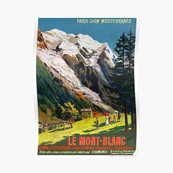 Affiche Vintage de voyage Mont Blanc France restaurée Poster
