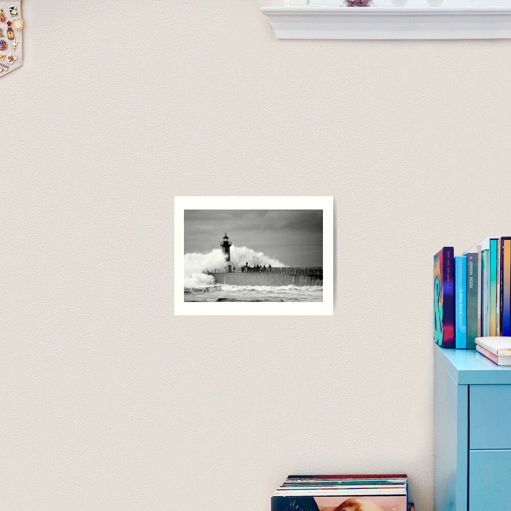 Lighthouse in a storm Art Print