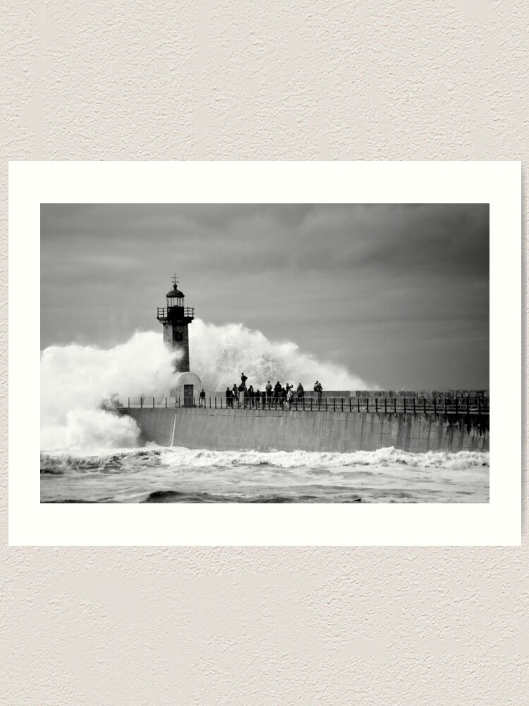 Alternate view of Lighthouse in a storm Art Print