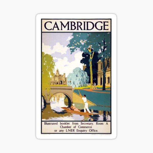Cambridge Vintage Travel Poster Restored Sticker