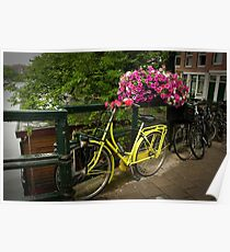 Yellow bike and pink flowers Poster