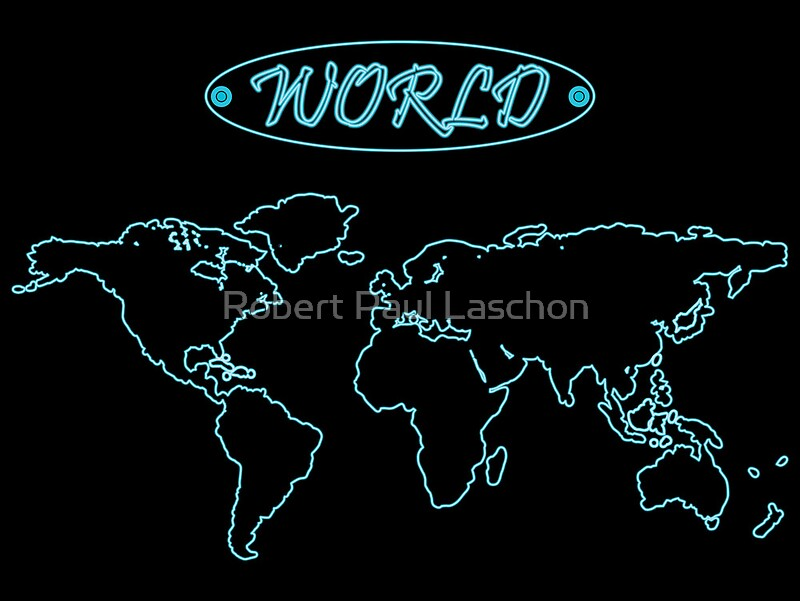 Blue neon world map against black posters by laschon robert paul blue neon world map against black by laschon robert paul gumiabroncs Gallery