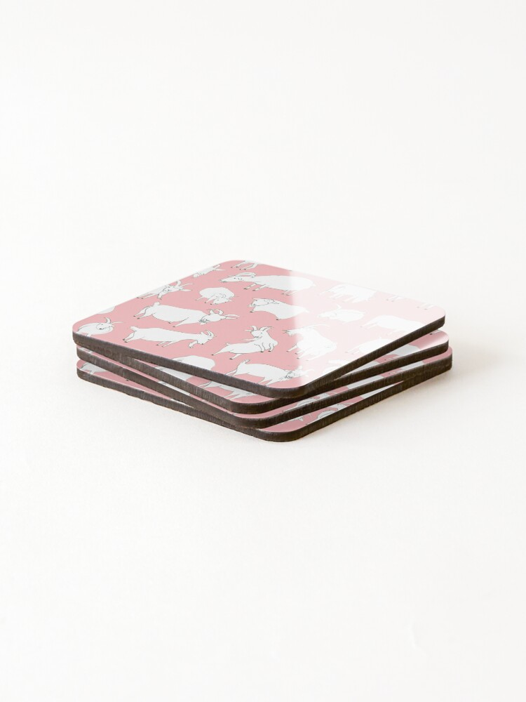 Alternate view of Goats playing - Pink Coasters (Set of 4)