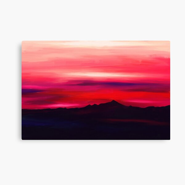 Landscape painting of mountains and a red and pink sky Canvas Print