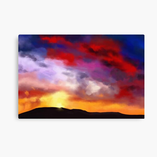 Painting of a simple landscape with a dramatic sky with red clouds Canvas Print