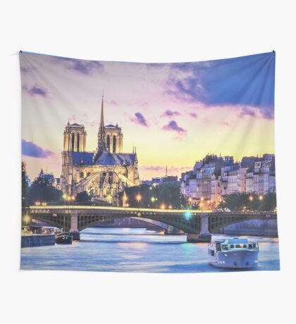In Homage of the Notre-Dame Cathedral in Paris - LOVE wins in the end! Wall Tapestry