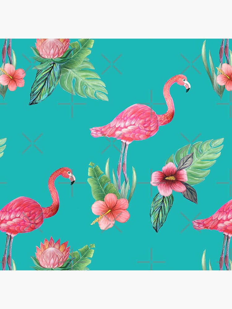 Pink Flamingo watercolor tropical flower garden on teal, painted in watercolor by MagentaRose