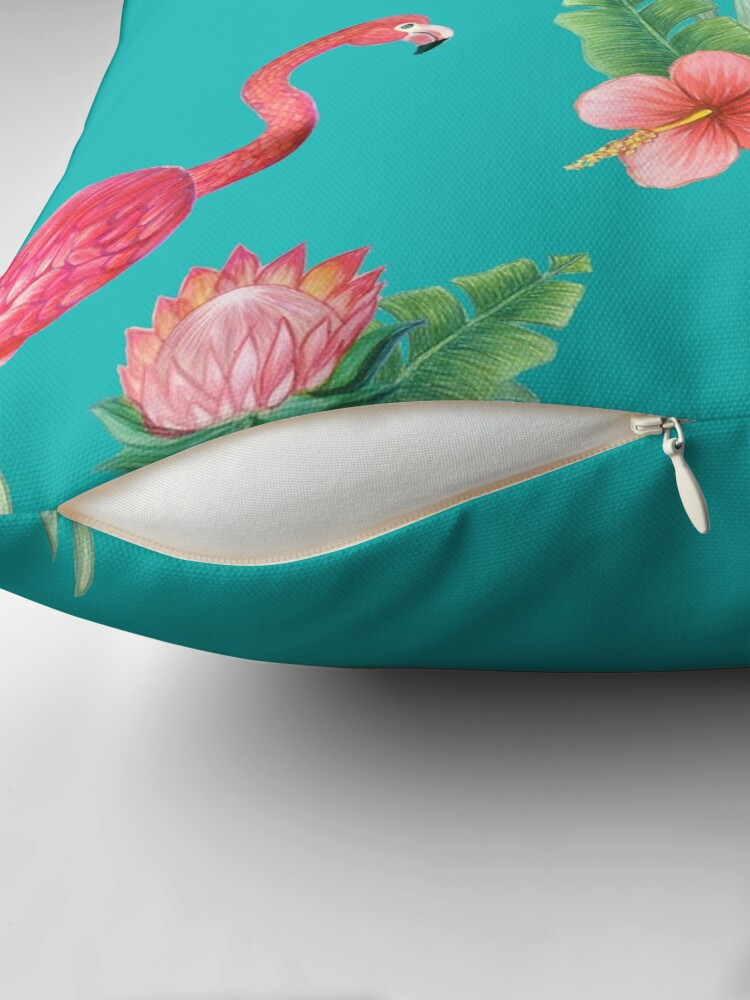 Alternate view of Pink Flamingo watercolor tropical flower garden on teal, painted in watercolor Throw Pillow