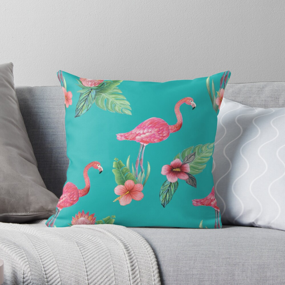 Pink Flamingo watercolor tropical flower garden on teal, painted in watercolor Throw Pillow