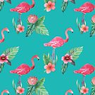 Pink Flamingo flower garden on teal, painted in watercolor by MagentaRose