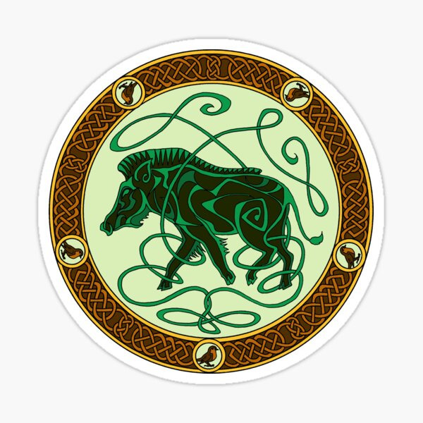 Celtic knotwork boar - green Sticker