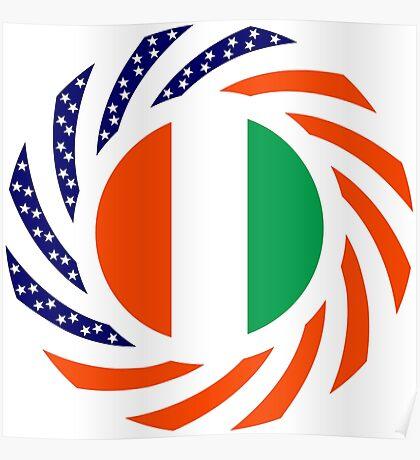 Ivory Coast American Multinational Patriot Flag Series Poster