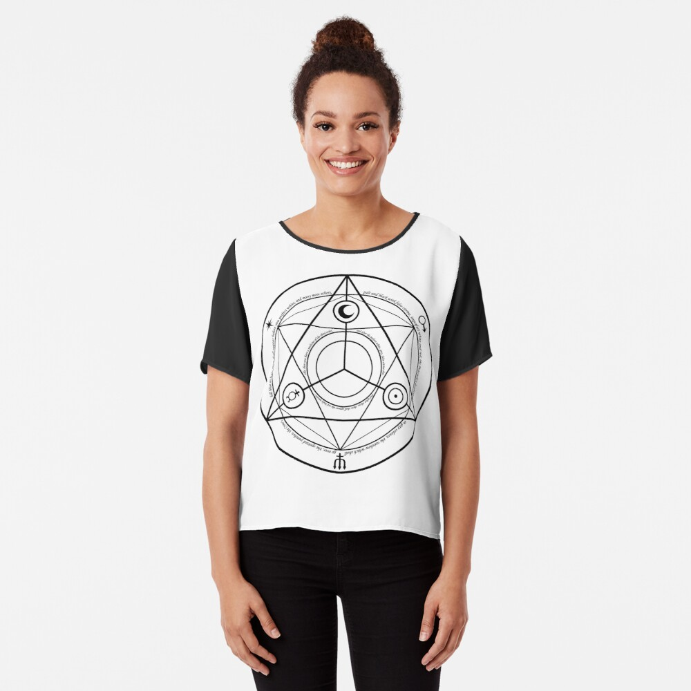 Alchemy Symbol,   ssrco,chiffon_top,womens,black,front,square_three_quarter,x1000-bg,f8f8f8