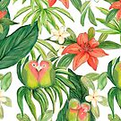 Lovebird tropical flower watercolor art by MagentaRose