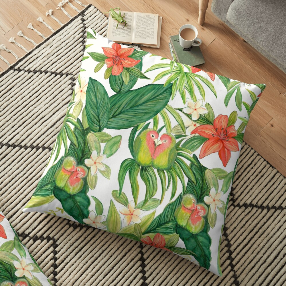 Lovebird tropical flower watercolor art Floor Pillow