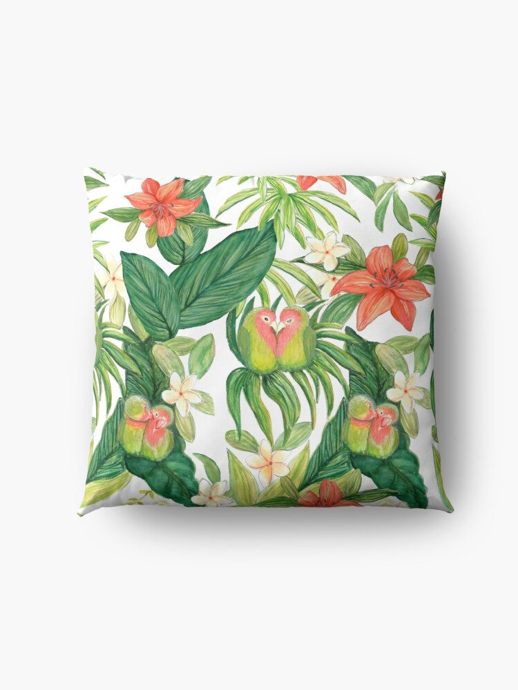Alternate view of Lovebird tropical flower watercolor art Floor Pillow