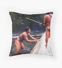 Getting through shallow water Throw Pillow