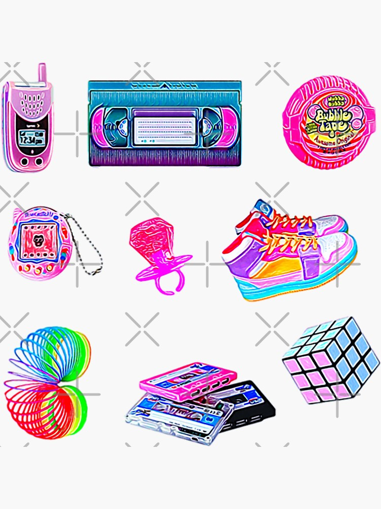 90's Kid Retro Nostalgia Collection Set ~ Sticker Sheet Bundle Pack by Neon-Wolf