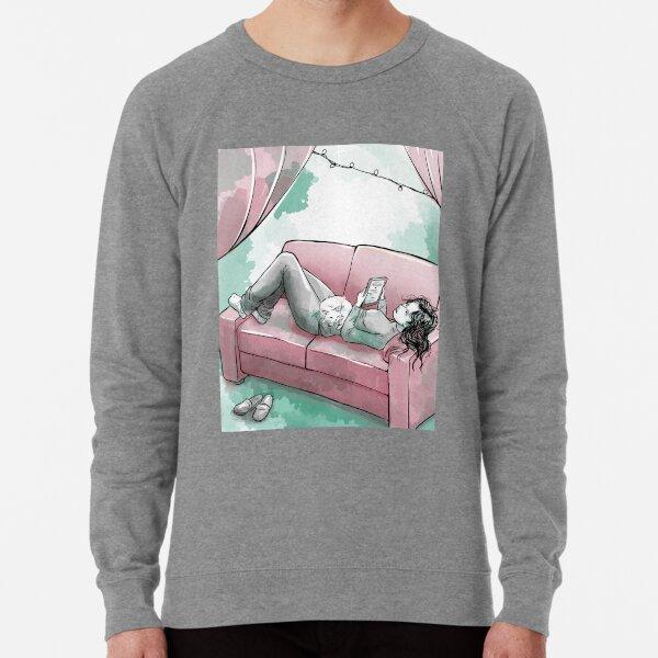 Girl reading with cat Lightweight Sweatshirt