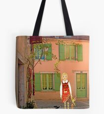 """""""Meg, bongo and bunny""""Streetscape in France. Tote Bag"""