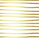 Abstract Tribal Striped Drawing Boho Vintage Minimal Stripes Gold White von SimpleLuxe