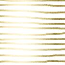 Abstract Tribal Striped Drawing Boho Vintage Minimal Stripes Gold White II von SimpleLuxe