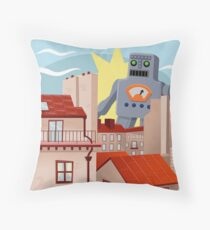 The Day The Giant Robot Arrived Throw Pillow
