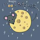 Mouse gnaws the moon made of cheese by miroshina