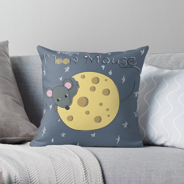Mouse gnaws the moon made of cheese Throw Pillow