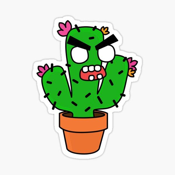 angry zombie cactus Sticker