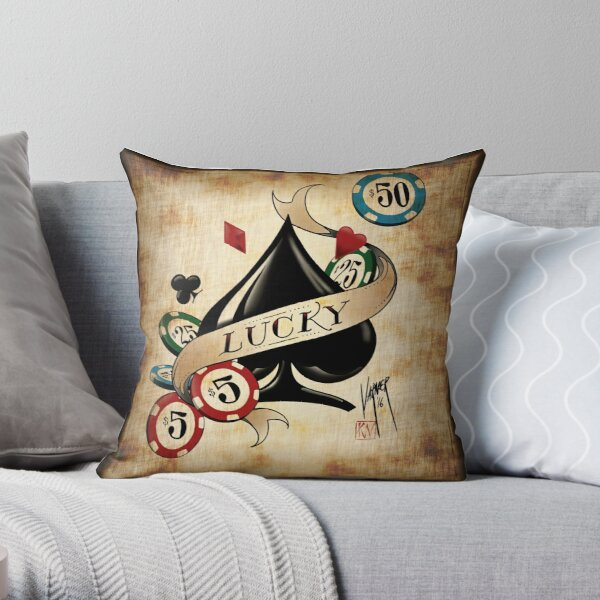 Spade and Poker Chips Throw Pillow